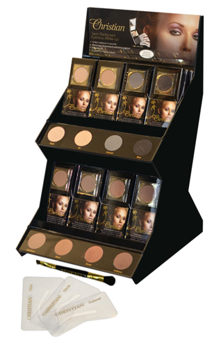 A display of the Christian Eyebrow make-up range